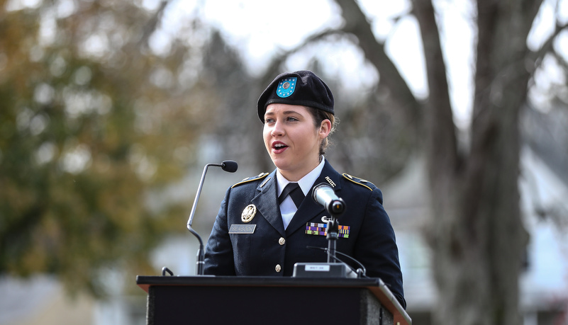 ROTC cadet addresses the attendees