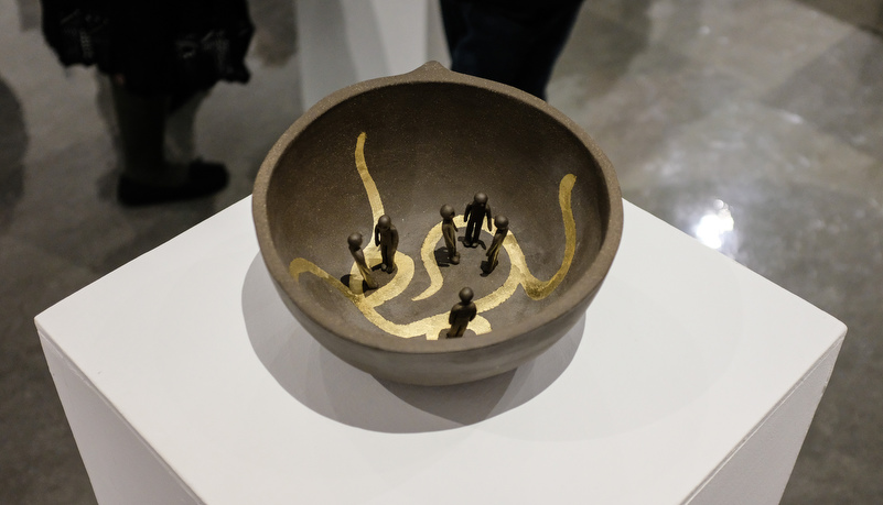an artistic pot on display