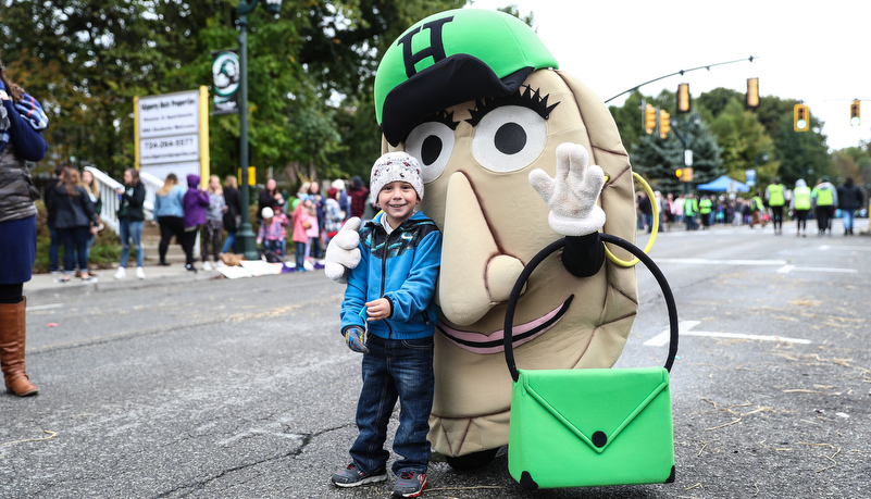 boy with a mascot