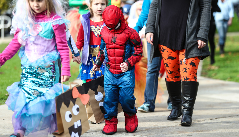 Boy dressed like Spiderman