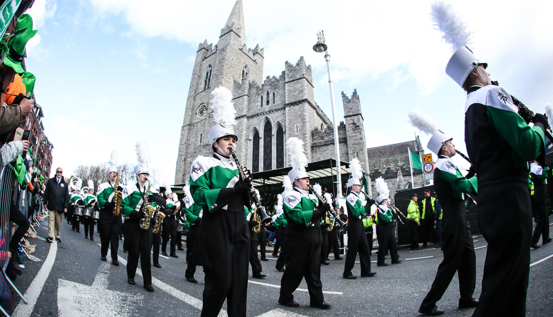 The band marches in front of St Patricks Cathedral