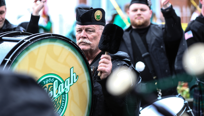 man playing a bass drum