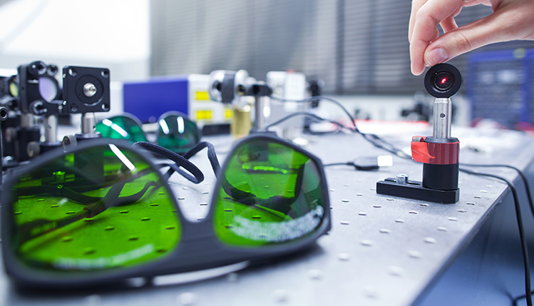 Lab goggles on table