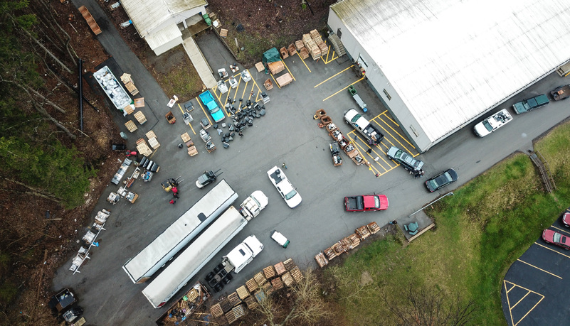 Recycling site from above