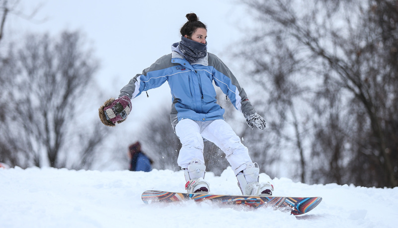Students snowboarding