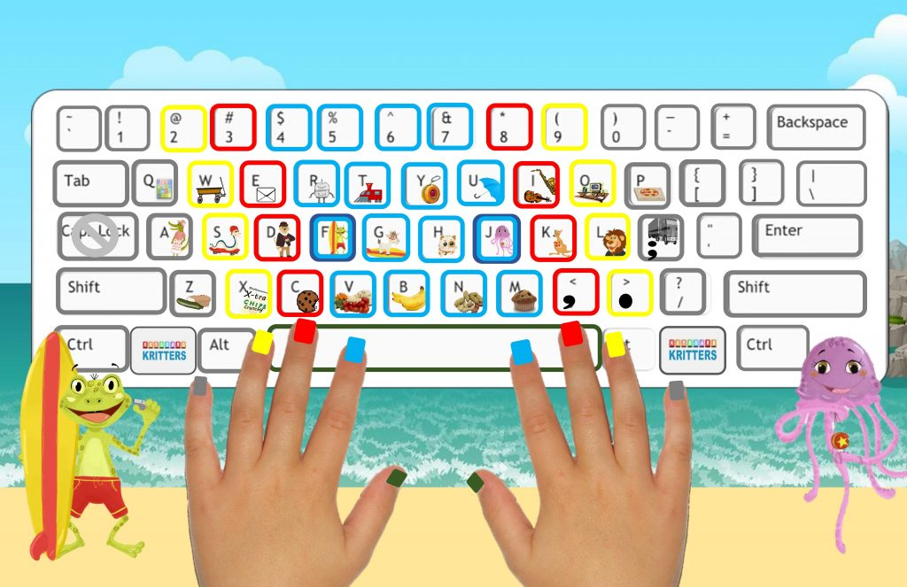 Hands on a cartoon keyboard