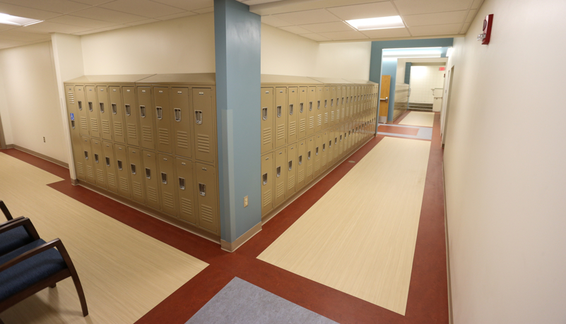 finished hallway with student lockers