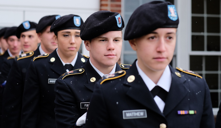 ROTC Cadets standing at attention