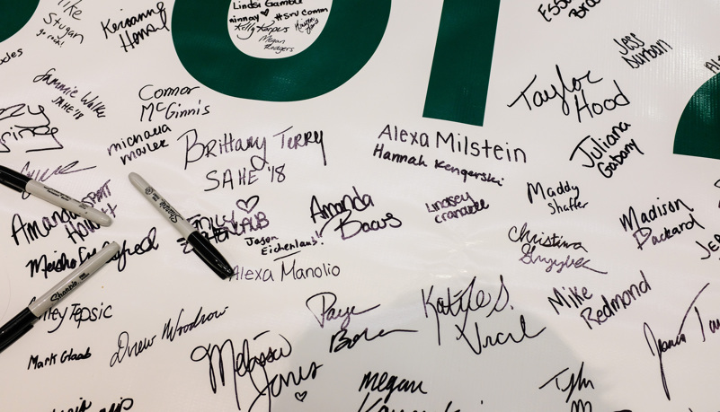 Signatures on a banner
