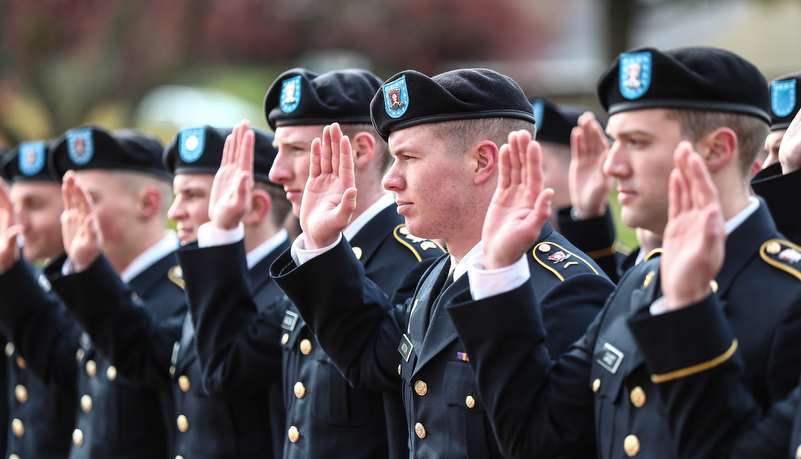 ROTC cadets take the oath of office