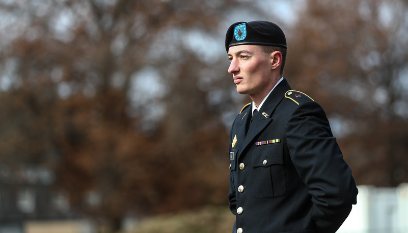 ROTC cadet stands at attention