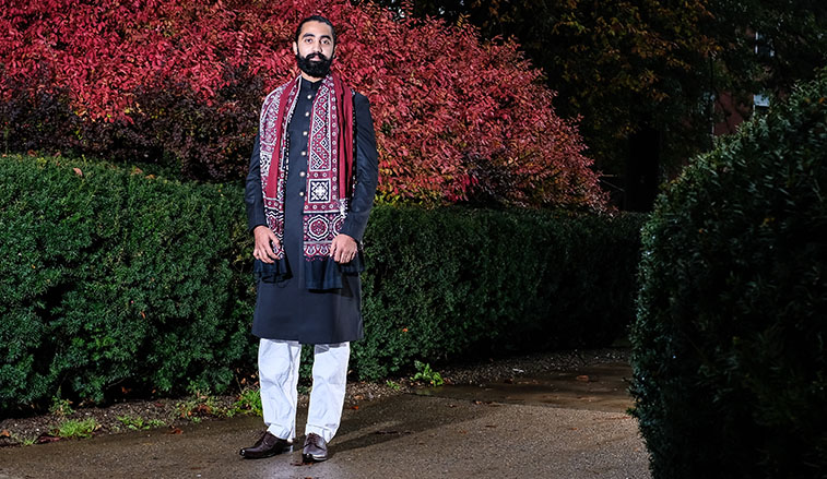 Pakistaini student in traditional dress