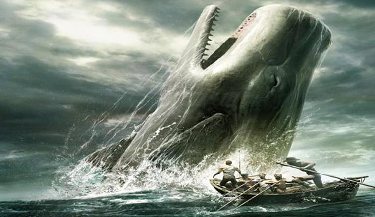 Illustration of Moby Dick jumping out of the ocean