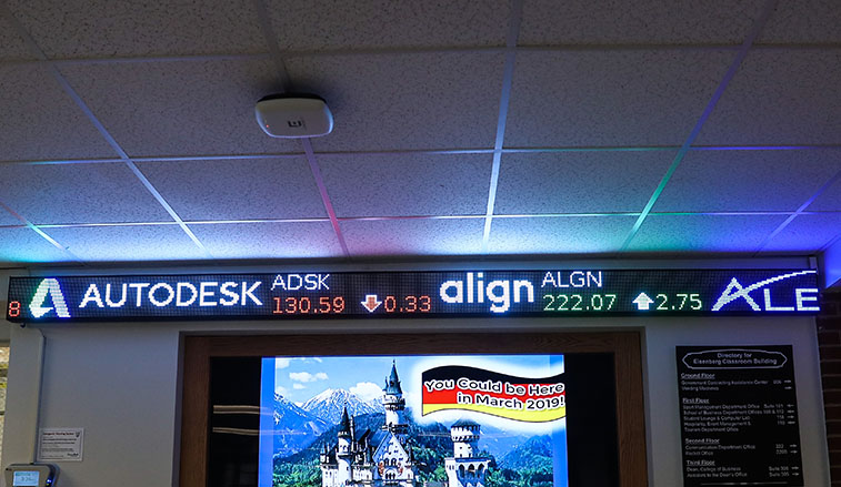 Stock ticker in the business building
