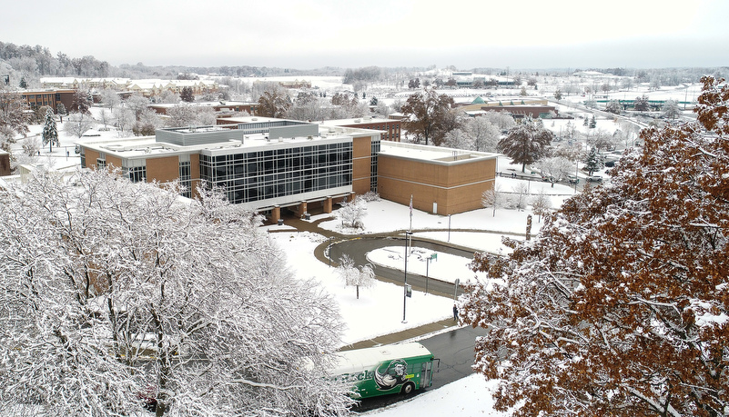 Campus from a drone covered in snow