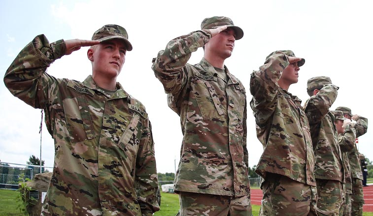 ROTC Students saluting