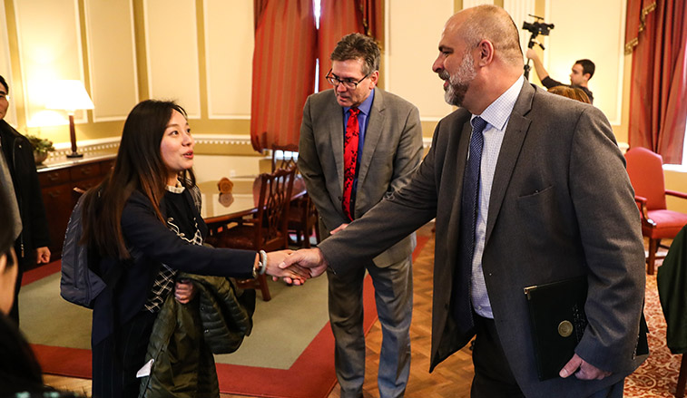 President Behre meeting with representatives from the Chinese university