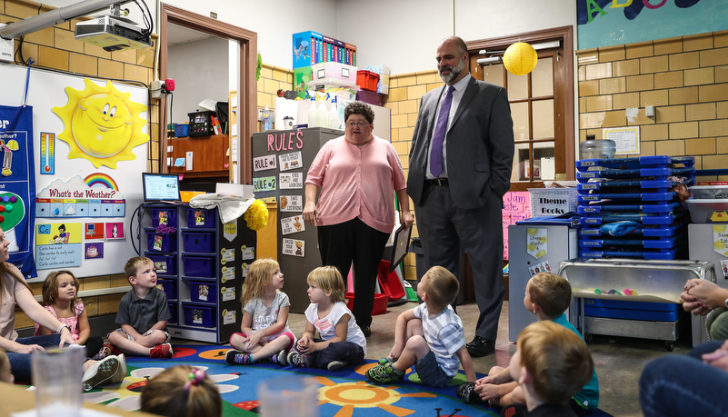 President Behre with Pre-school class