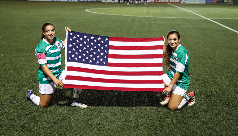 Players with the American flag