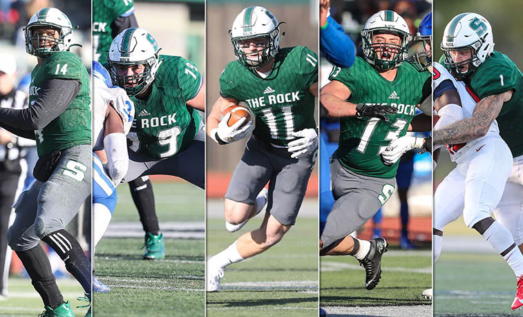 The Slippery Rock University football team landed a nation-leading five selections on the Associated Press Division II All-America team that was announced Wednesday, headlined by first team honorees Roland Rivers III and Chris Larsen.