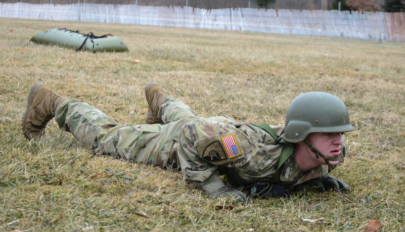 Cadet preparing to do pushups
