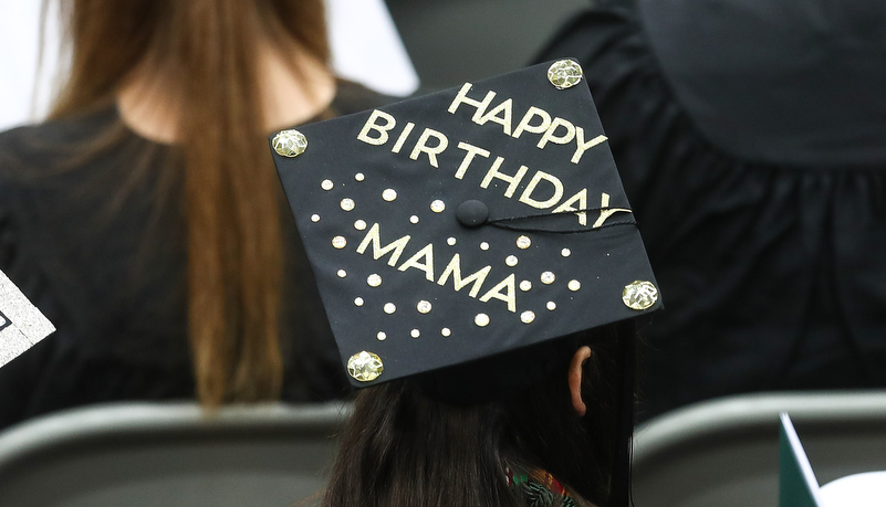 Cap decotrated to say, Happy Birthday Mama