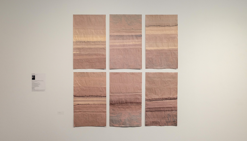 Art comprising of 6 panels with beige and pink colors