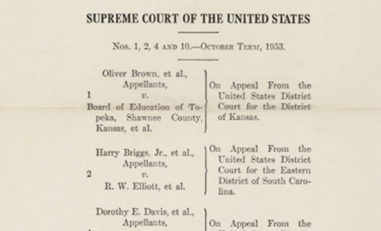 Cover page of the 1954 ruling by the Warren Court