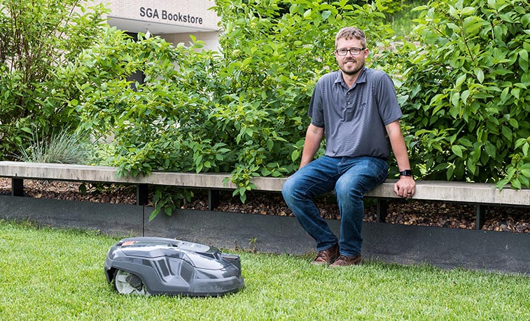 Dallas Cott with the robotic mower