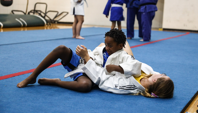 Campers working on Jujitsu