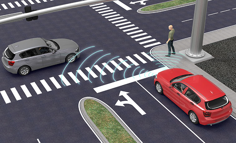 Driverless cars at an intersection