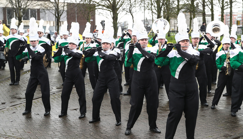 band marching through Limerick