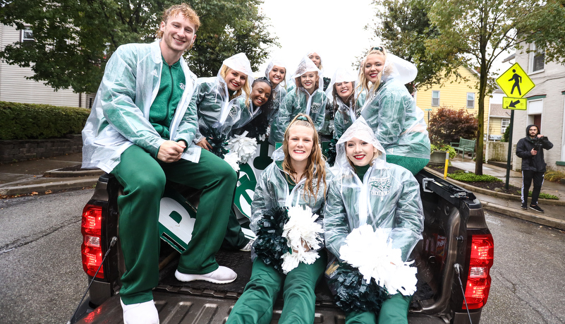 Cheerleaders in a truck