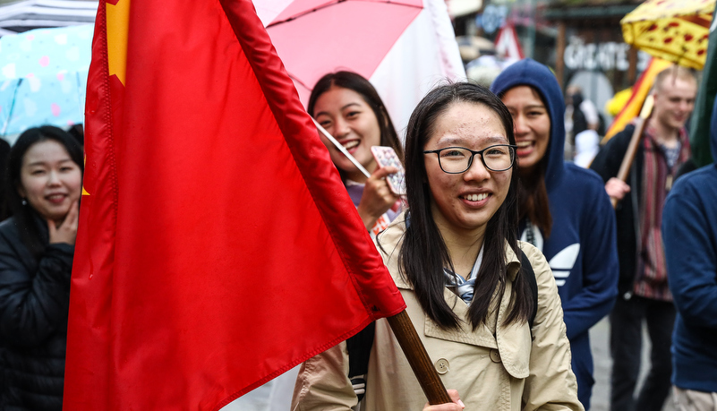 International students in the parade