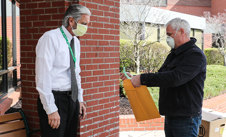 Jack Livingston delivering face shields to Grove City Medical Center