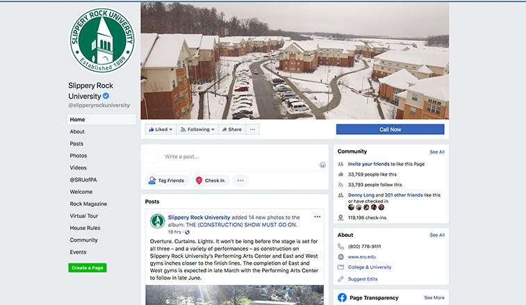 Screen shot of the SRU Facebook page