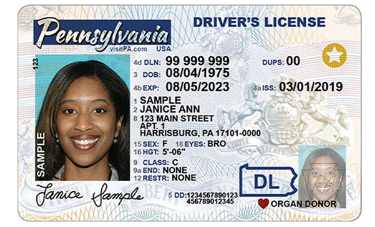 Sample of a Pennsylvania Real ID