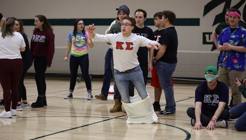 Kappa Sigma brother falling horribly during a sack race