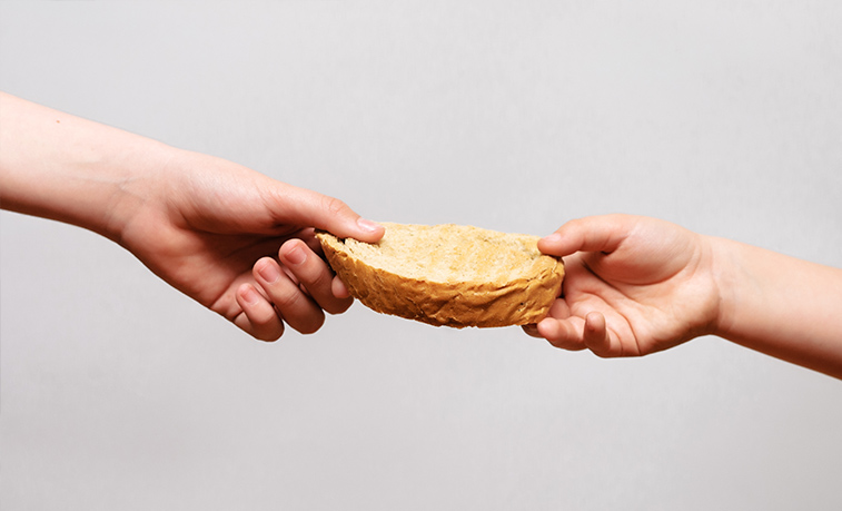 two hands holding a piece of bread