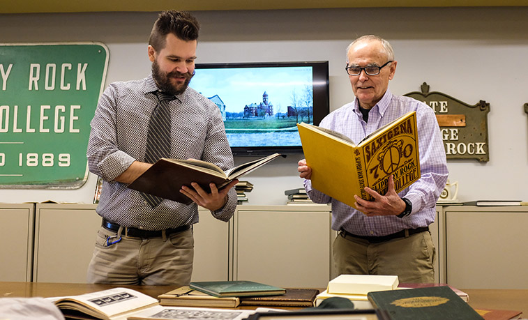 A project to digitize the entire collection of Slippery Rock University yearbooks is underway thanks to the support and efforts of faculty, staff and student workers from Bailey Library's Archives and Special Collections departments, and funding from the SRU Alumni Association.