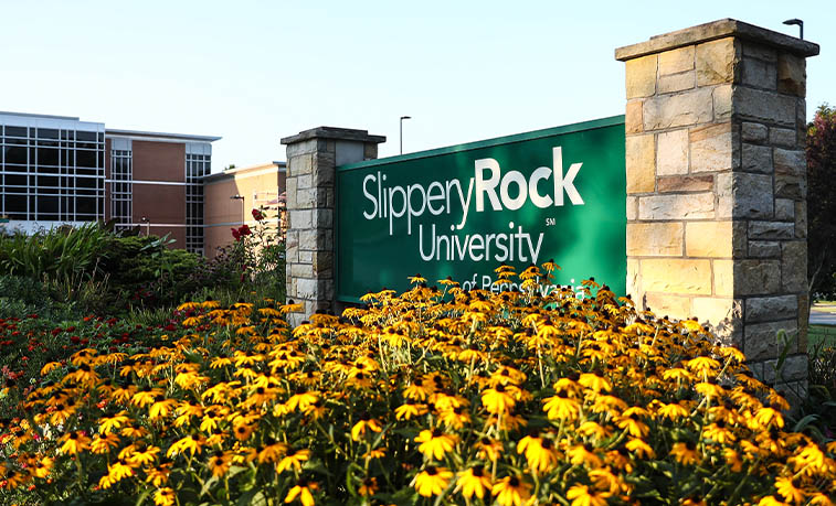 SRU sign with flowers