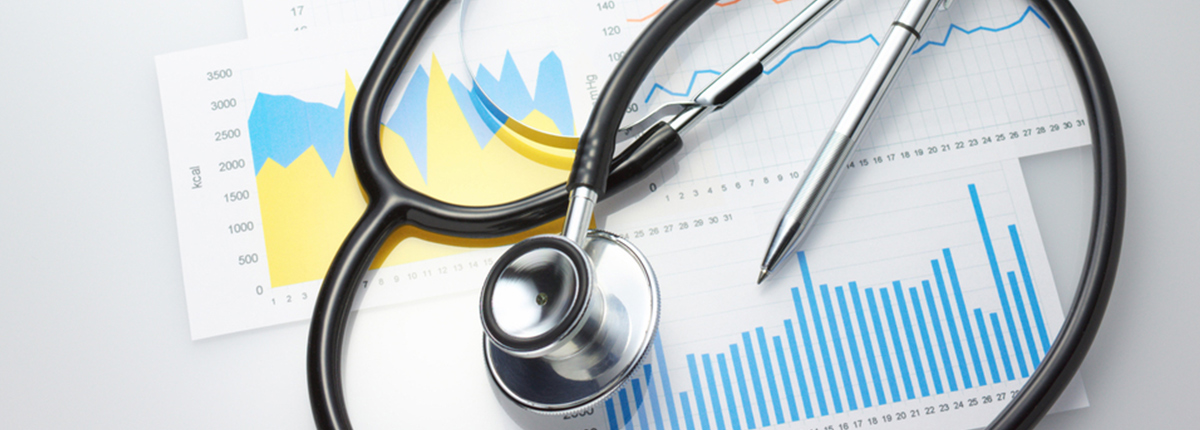 Stethoscope and charts for health care management