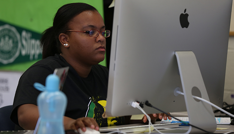 Student working at a computer