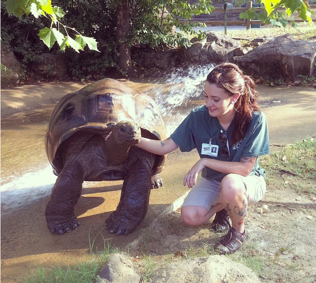 Hannah Baker with a turtle at the Little Rock Zoo in Arkansas